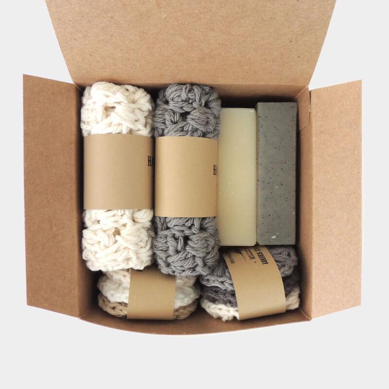 Boyfriend Gift Box Gray Natural Color Men Bath Gift Set Right Soap